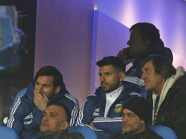 Messi reportedly suffered a groin strain in training, so the Barcelona forward was an unused substitute as Argentina kicked off their preparations for the World Cup.