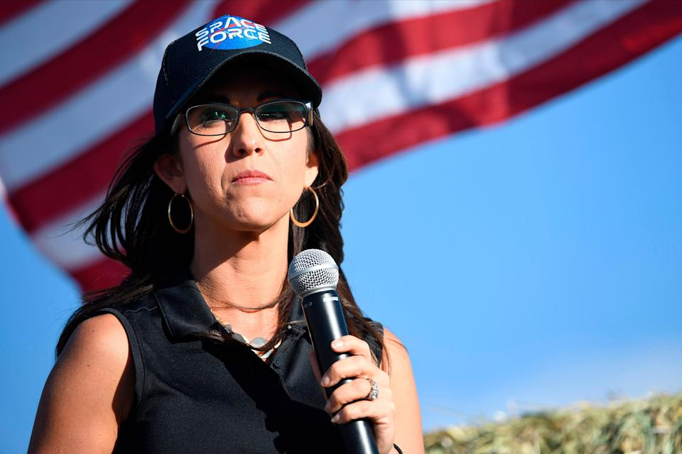 <p>File Image: Lauren Boebert, the Republican candidate for the US House of Representatives seat in Colorado's 3rd Congressional District, addresses supporters during a campaign rally in Colona, Colorado on 10 October 2020</p> (Getty Images)