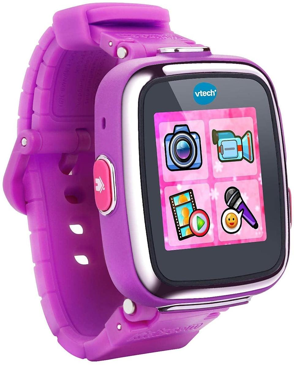 """<p>This <a href=""""https://www.popsugar.com/buy/VTech-Kidizoom-Smartwatch-495062?p_name=VTech%20Kidizoom%20Smartwatch&retailer=amazon.com&pid=495062&price=46&evar1=moms%3Aus&evar9=25997679&evar98=https%3A%2F%2Fwww.popsugar.com%2Fphoto-gallery%2F25997679%2Fimage%2F46685455%2FVTech-Kidizoom-Smartwatch&list1=holiday%2Cgift%20guide%2Ckid%20shopping%2Choliday%20living%2Choliday%20for%20kids&prop13=api&pdata=1"""" class=""""link rapid-noclick-resp"""" rel=""""nofollow noopener"""" target=""""_blank"""" data-ylk=""""slk:VTech Kidizoom Smartwatch"""">VTech Kidizoom Smartwatch</a> ($46) features three activities, five games, three action challenges, and a motion sensor.</p>"""