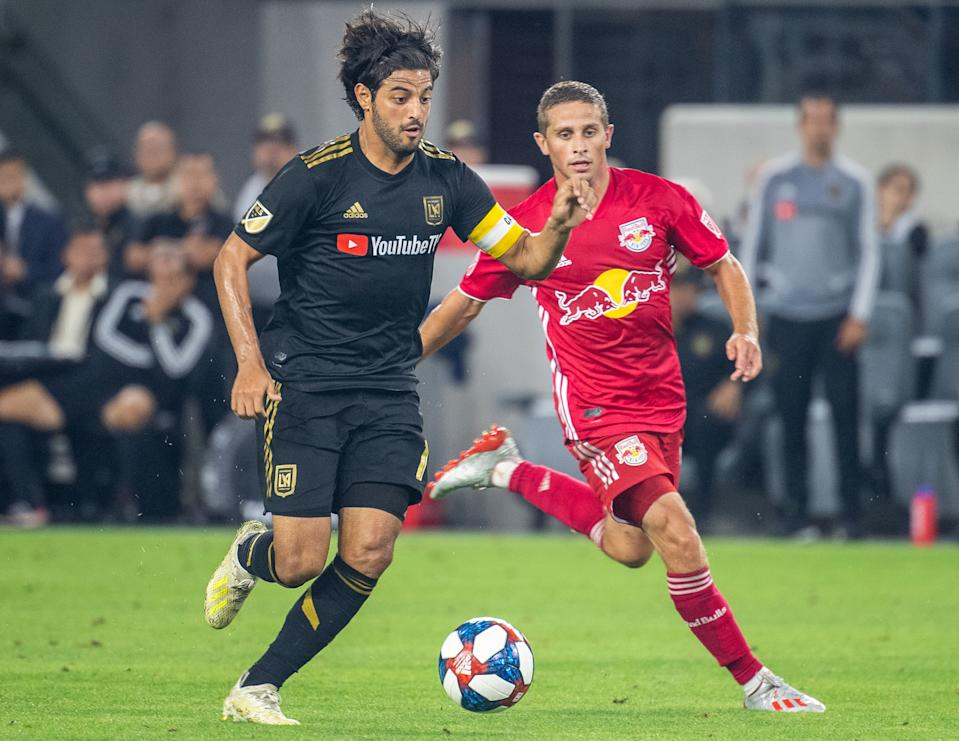 LOS ANGELES, CA - AUGUST 11: Carlos Vela #10 of Los Angeles FC during Los Angeles FC's MLS match against New York Red Bulls at the Banc of California Stadium on August 11, 2019 in Los Angeles, California.  Los Angeles FC won the match 4-2 (Photo by Shaun Clark/Getty Images)