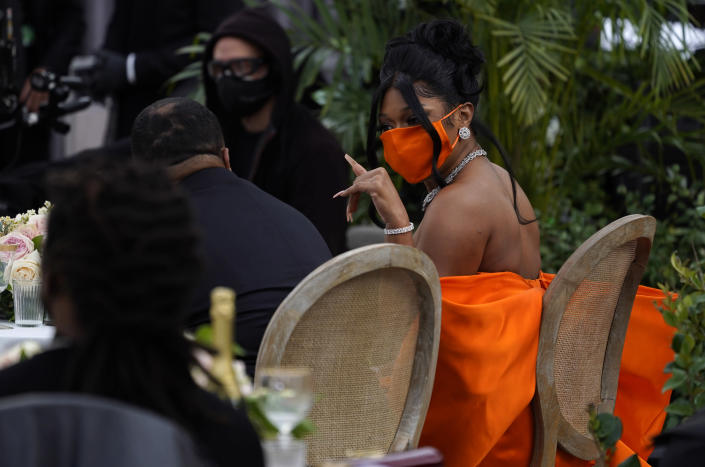 Megan Thee Stallion is seen at the 63rd annual Grammy Awards at the Los Angeles Convention Center on Sunday, March 14, 2021. (AP Photo/Chris Pizzello)