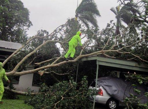 Residents clear away branches from a tree that collapsed outside a house in Suva on December 17, 2012