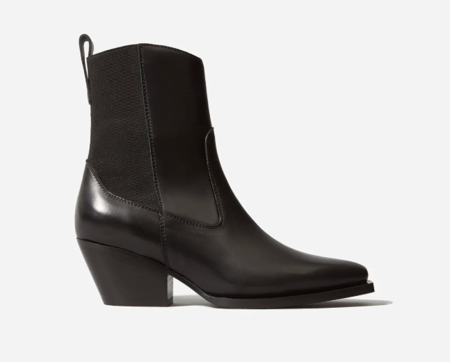 """Davidgnon calls a pair of cowboy-inspired boots """"an absolute essential wardrobe addition."""" You can't go wrong with classic leather ankle and calf length styles, she says. """"Metal hardware details add an artisanal flare."""" (Photo: Everlane) <a href=""""https://fave.co/2NXVUIP"""" rel=""""nofollow noopener"""" target=""""_blank"""" data-ylk=""""slk:SHOP IT:"""" class=""""link rapid-noclick-resp""""><strong>SHOP IT:</strong></a><strong> Everlane The Wild Western Boots, $235, </strong><a href=""""https://fave.co/2NXVUIP"""" rel=""""nofollow noopener"""" target=""""_blank"""" data-ylk=""""slk:everlane.com"""" class=""""link rapid-noclick-resp""""><strong>everlane.com</strong></a>"""