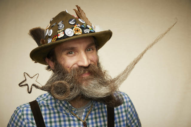 This shooting star themed beard is all sorts of lucky. [Photo: Caters]