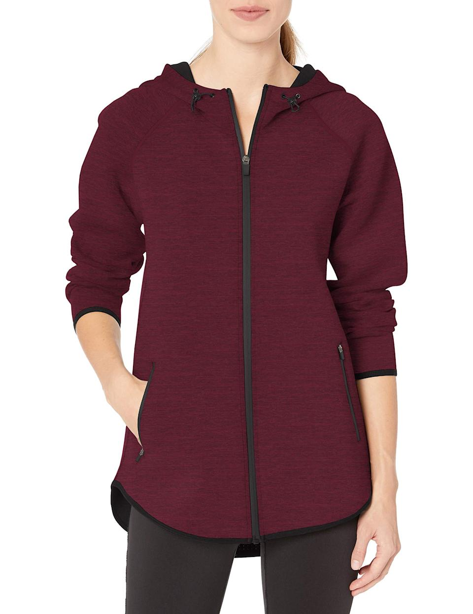 "<br><br><strong>Amazon Essentials</strong> Longer Length Tech-Sport Knit Full-Zip Hooded Jacket, $, available at <a href=""https://amzn.to/3lH7JkR"" rel=""nofollow noopener"" target=""_blank"" data-ylk=""slk:Amazon"" class=""link rapid-noclick-resp"">Amazon</a>"