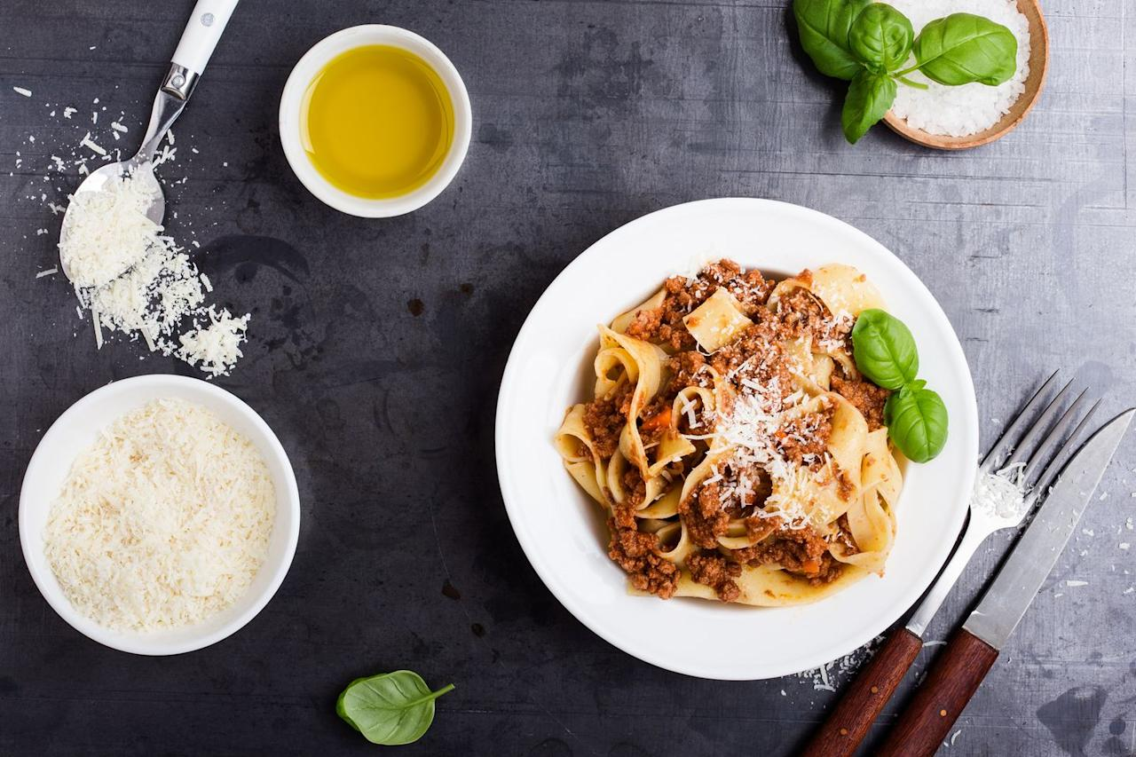 """<p>Is it any wonder that the word pappardelle comes from the Italian """"pappare,"""" which means """"to gobble up""""? This pasta comes in the form of long, broad ribbons that are the perfect canvas for rich, meaty ragù sauces. </p><p><strong>Try it in <a href=""""https://www.countryliving.com/food-drinks/recipes/a4109/pappardelle-beef-ragu-recipe-clv0512/"""">Pappardelle with Beef Ragu</a>.</strong></p>"""