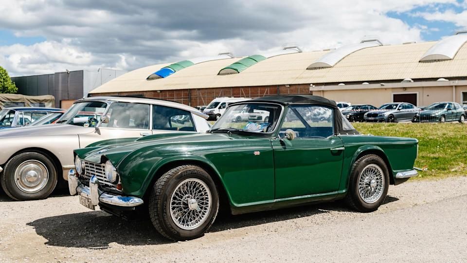 STRASBOURG, FRANCE - APR 30, 2018: Beautiful Triumph Spitfire 4 MK2 1965 Green parked on the street on a sunny day.