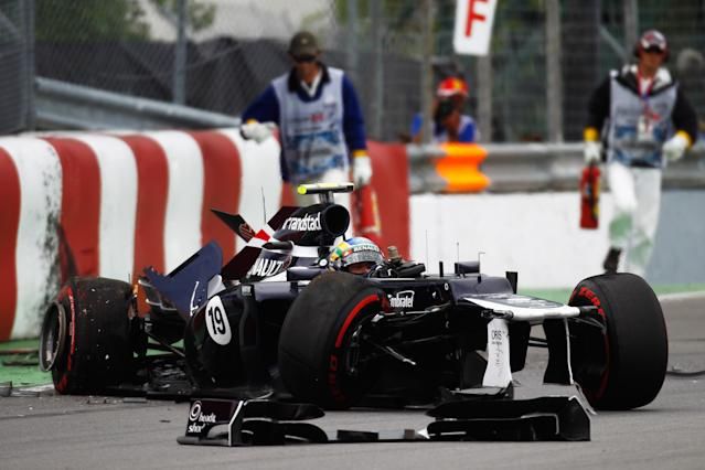 MONTREAL, CANADA - JUNE 08: Bruno Senna of Brazil and Williams crashes at the last corner during practice for the Canadian Formula One Grand Prix at the Circuit Gilles Villeneuve on June 8, 2012 in Montreal, Canada. (Photo by Paul Gilham/Getty Images)
