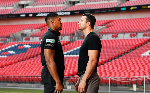 Anthony Joshua (L) and Wladimir Klitschko go head to head next Saturday - EPA