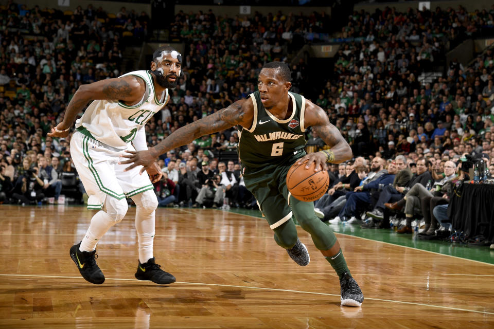 Eric Bledsoe drives past Kyrie Irving on Monday night. (Getty Images)