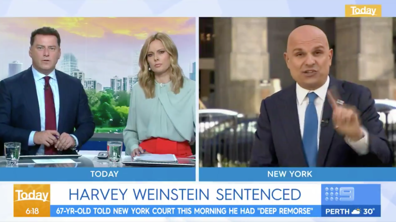 Picture of Today show hosts, Karl Stefanovic and Allison Langdon, crossing live to New York to speak with Harvey Weinstein's lawyer Arthur Aidala.