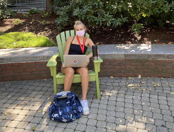 Maddie Harrington, 18, is a freshman getting used to campus life under strict COVID-19 safety guidelines. (Ben Kesslen / NBC News)