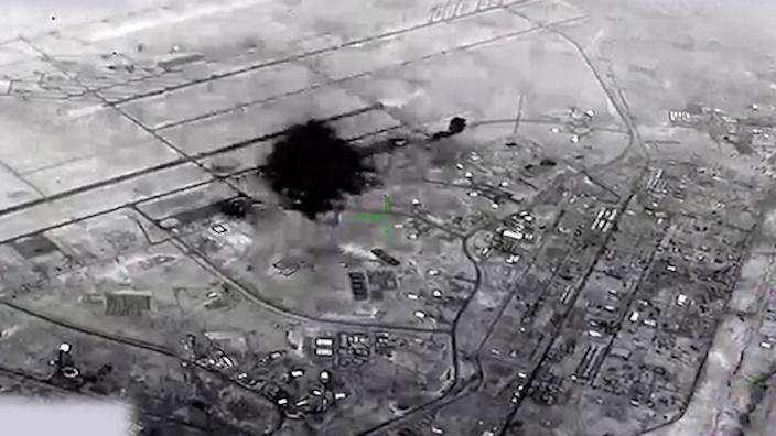 A drone captured video of the attack on Al Asad Airbase