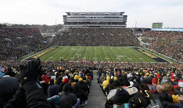 Iowa's Kinnick Stadium hasn't had a midfield logo since 1980. (AP Photo/Charlie Neibergall)