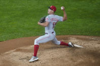 Cincinnati Reds pitcher Robert Stephenson throws to a Minnesota Twins batter during the eighth inning of a baseball game Saturday, Sept. 26, 2020, in Minneapolis. The Twins won 7-3. (AP Photo/Jim Mone)