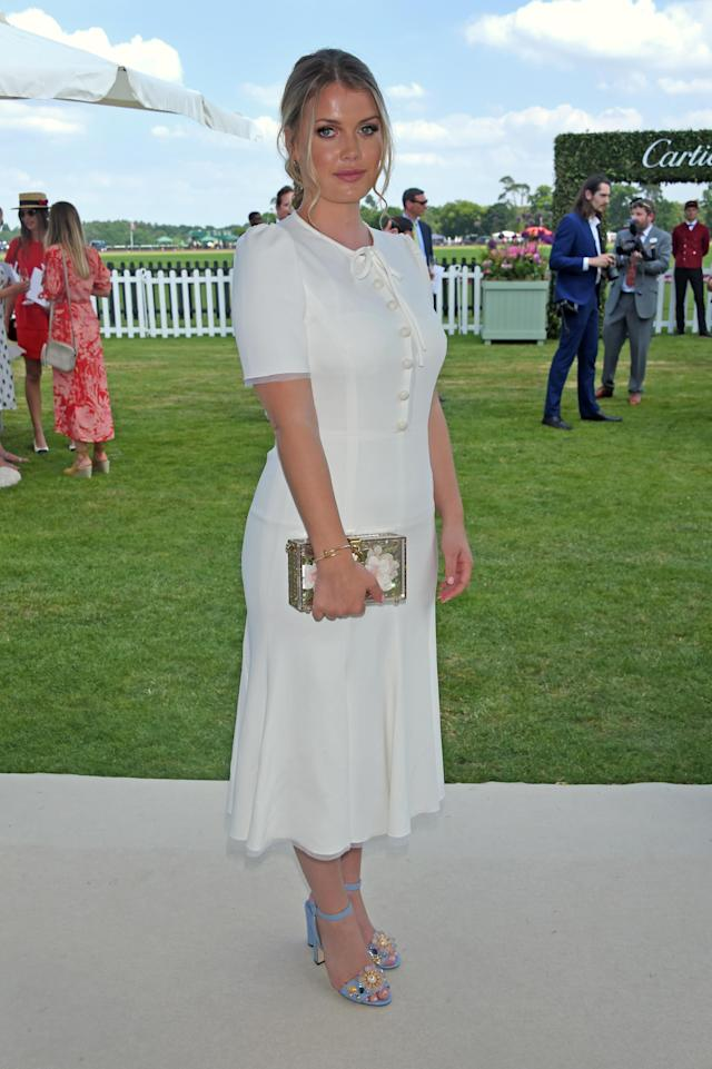 <p>Lady Kitty Spencer attended the Cartier Queen's Cup Polo final at Guards Polo Club wearing, yes, you guessed it: white Dolce & Gabbana. (Photo: Getty Images) </p>