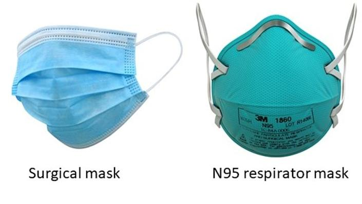 """<span class=""""caption"""">A surgical mask, left, and an N95 mask, right.</span>"""