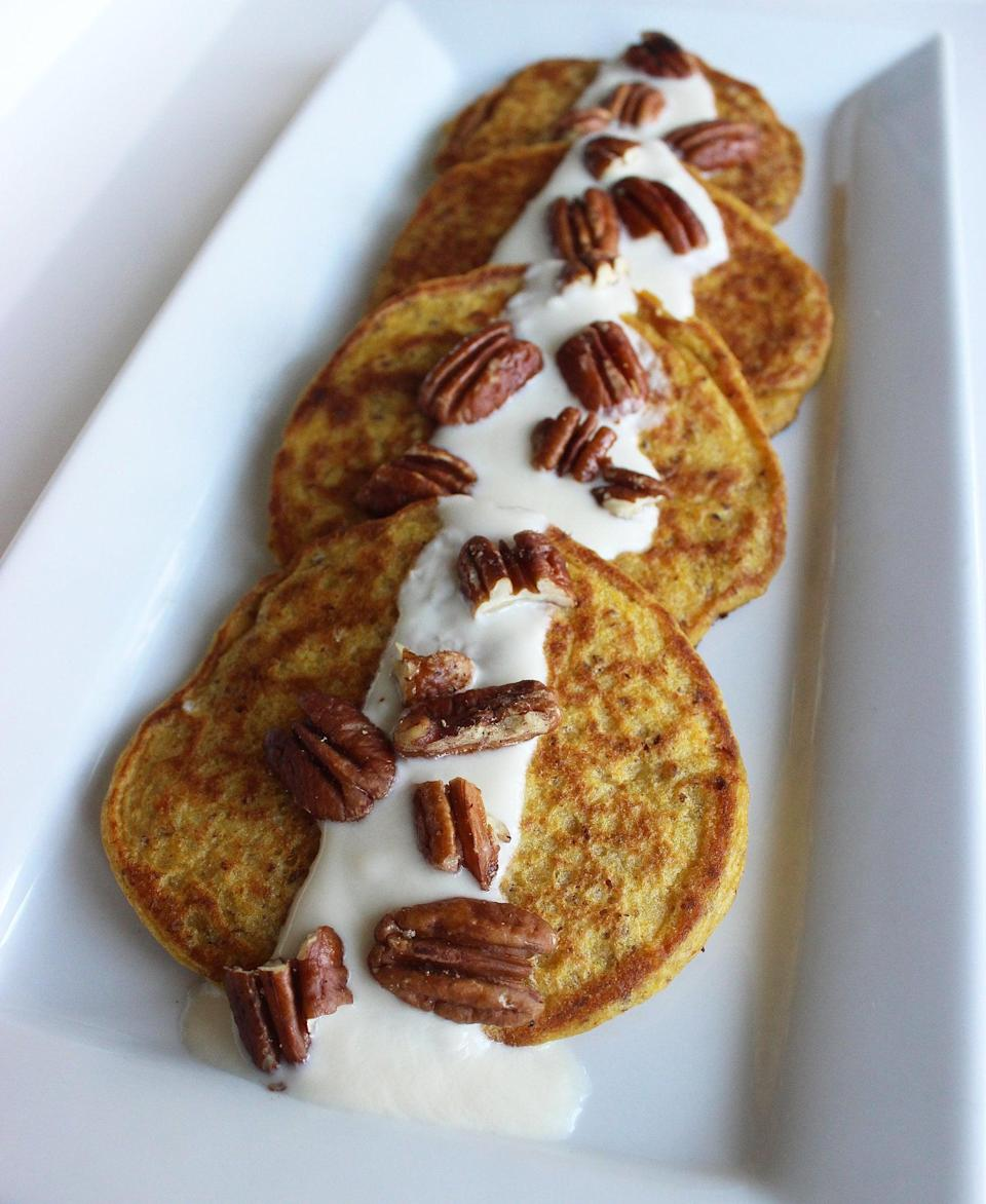 """<p>Pancakes don't have to be a breakfast-only meal, especially when it's a stack of these pumpkin pancakes. The maple yogurt topping helps give the dish a sweetness that makes it feel like dessert.</p> <p><b>Get the recipe</b>: <a href=""""https://www.popsugar.com/fitness/Pumpkin-Pancake-Recipe-12521266"""" class=""""link rapid-noclick-resp"""" rel=""""nofollow noopener"""" target=""""_blank"""" data-ylk=""""slk:pumpkin pancakes"""">pumpkin pancakes</a></p>"""