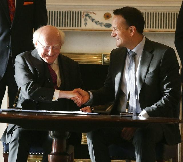 Then taoiseach Leo Varadkar shakes hands with President of Ireland, Michael D Higgins following Mr Varadkar's request in January to dissolve the 32nd Dail at Aras an Uachtarain (Damien Eagers/PA)