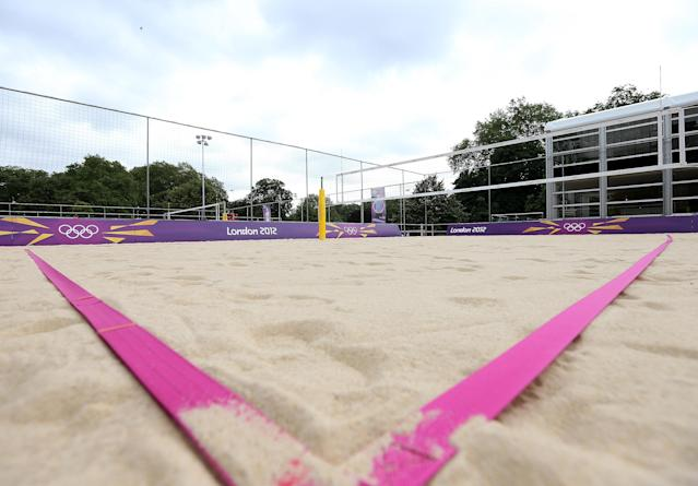 LONDON, ENGLAND - JULY 18: A general view of the Beach Volleyball practice courts at Horse Guards Parade on July 18, 2012 in London, England. (Photo by Scott Heavey/Getty Images)