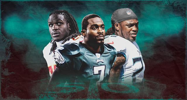 Jamaal Charles, Michael Vick and Derrick Henry delivered three of the decade's top fantasy performances. (Illustration by Paul Rosales)