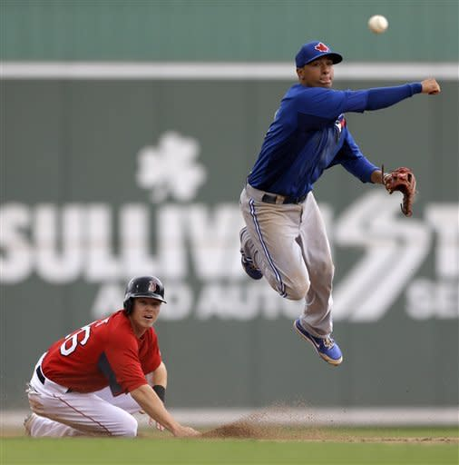 Toronto Blue Jays' Ryan Goins, right, throws to first after forcing out Boston Red Sox's Brock Holt at second on a double play in the fifth inning of a spring training exhibition baseball game, Tuesday, March 12, 2013, in Fort Myers, Fla. Boston's Ryan Sweeney was out at first to end the inning. (AP Photo/David Goldman)