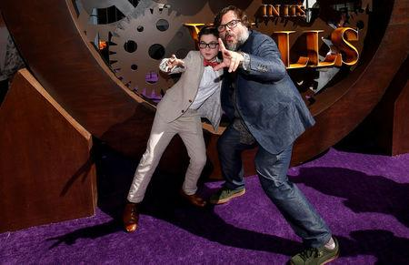 "Actors Jack Black and Owen Vaccaro pose at the premiere for ""The House With a Clock in its Walls"" in Los Angeles"