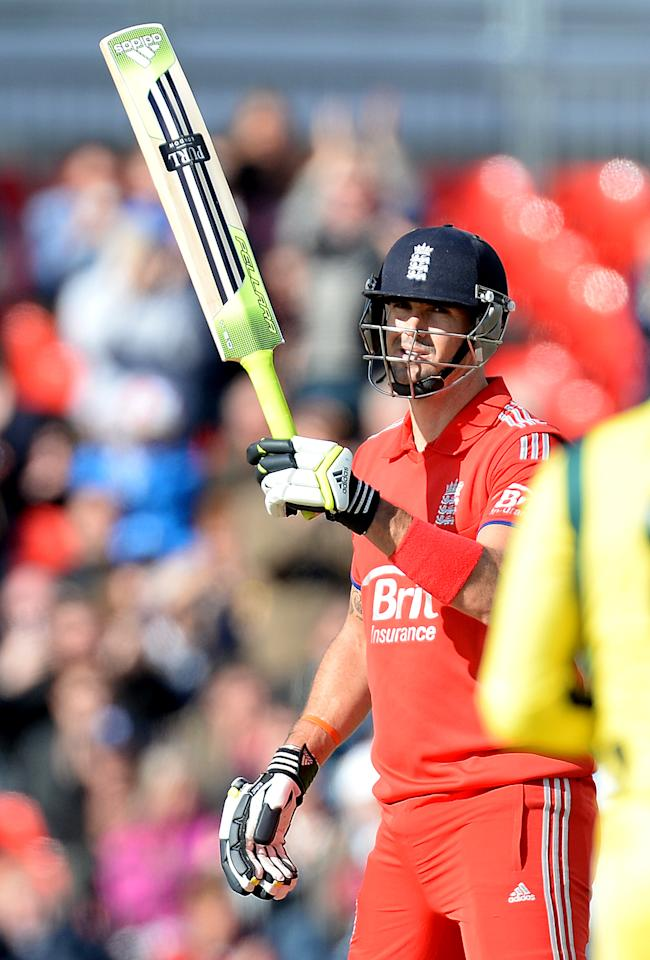 England's Kevin Pietersen celebrates his half century against Australia, during the Second One Day International at Old Trafford Cricket Ground, Manchester.