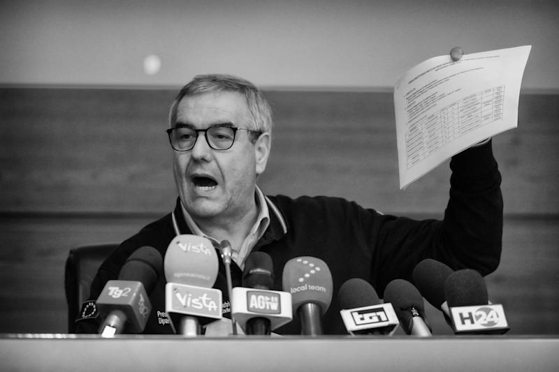 ROME, ITALY - FEBRUARY 23: (EDITORS NOTE: Image has been converted to black and white.) The extraordinary commissioner to Coronavirus emergency Angelo Borrelli during a press conference at the Civil Protection headquarters on February 23, 2020 in Rome, Italy. Borrelli gave the updated numbers on Coronavirus infections in the national territory. (Photo by Stefano Montesi - Corbis/ Getty Images) (Photo: Stefano Montesi - Corbis via Getty Images)