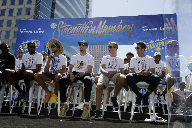 The Warriors are all laughing at my teams, which isn't very nice. (AP)