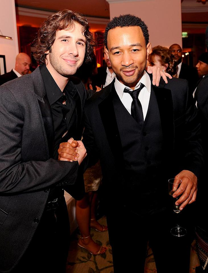 """Who knew that Josh Groban and John Legend were friends? Can we expect a duet between these soulful singers in the near future? Michael Caulfield/<a href=""""http://www.wireimage.com"""" target=""""new"""">WireImage.com</a> - February 10, 2008"""