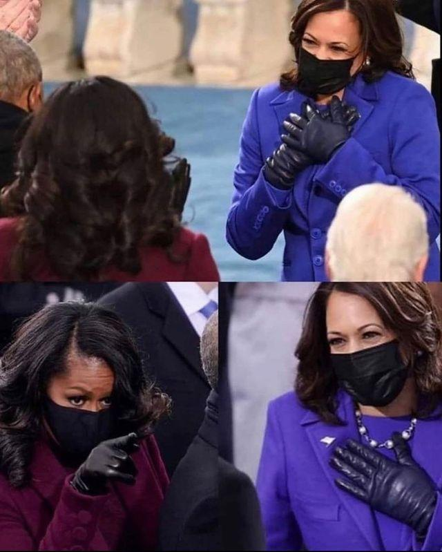 """<p>This supportive moment between Michelle Obama and <a href=""""https://www.elle.com/uk/fashion/g33560057/kamala-harris-style/"""" rel=""""nofollow noopener"""" target=""""_blank"""" data-ylk=""""slk:Kamala Harris"""" class=""""link rapid-noclick-resp"""">Kamala Harris</a> was one which received lots of attention and love on the internet. While both women are adored by their supporters, the symbolism of the moment of two high-profile, pioneering and successful Black women supporting each other on the world's biggest stage - one that has so often been dominated by white men, perhaps no more particularly felt than during the last four years - was hugely significant.</p><p><a href=""""https://www.instagram.com/p/CKStaZvl8SO/"""" rel=""""nofollow noopener"""" target=""""_blank"""" data-ylk=""""slk:See the original post on Instagram"""" class=""""link rapid-noclick-resp"""">See the original post on Instagram</a></p>"""