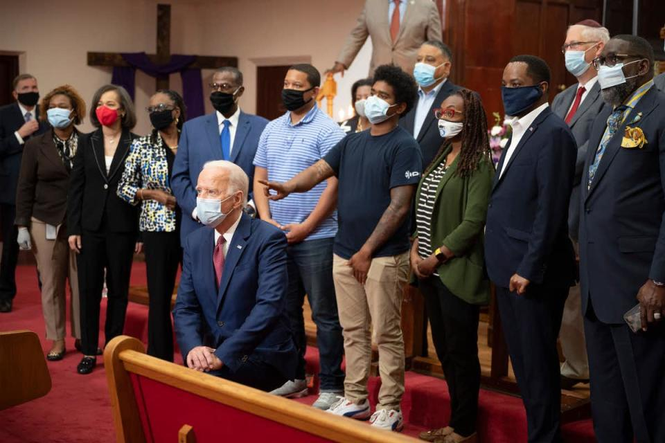 Biden is courting the Black vote – here, he's at the Bethel AME Church in Wilmington, Delaware on 1 June 2020 – but fewer than half of young Black Americans surveyed in battleground states say they will vote for him.