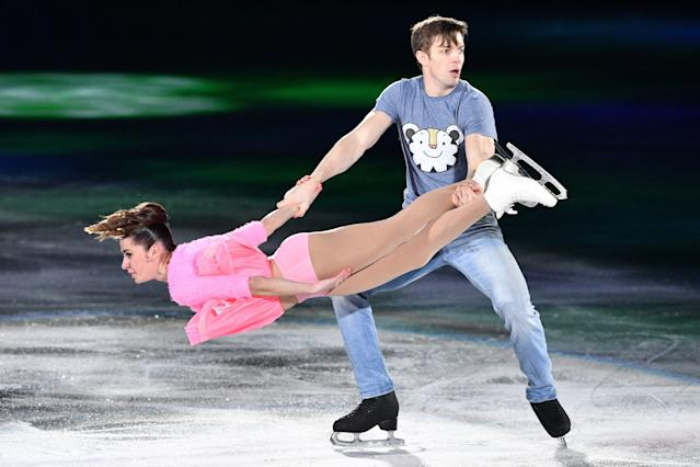 <p>Italy's Valentina Marchei and Italy's Ondrej Hotarek perform during the figure skating gala event during the Pyeongchang 2018 Winter Olympic Games at the Gangneung Oval in Gangneung on February 25, 2018. / AFP PHOTO / Mladen ANTONOV (Photo credit should read MLADEN ANTONOV/AFP/Getty Images) </p>