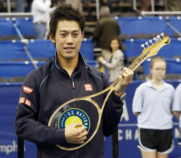 Kei Nishikori, not exactly a household name in American's heartland, is the two-time defending champ in Memphis. (AP Photo/Rogelio V. Solis)