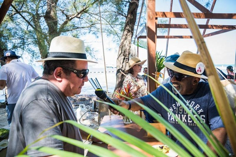 Emeril Lagasse and Al Roker at Cayman Cookout's Beach Bash event | Rebecca Davidson Photography