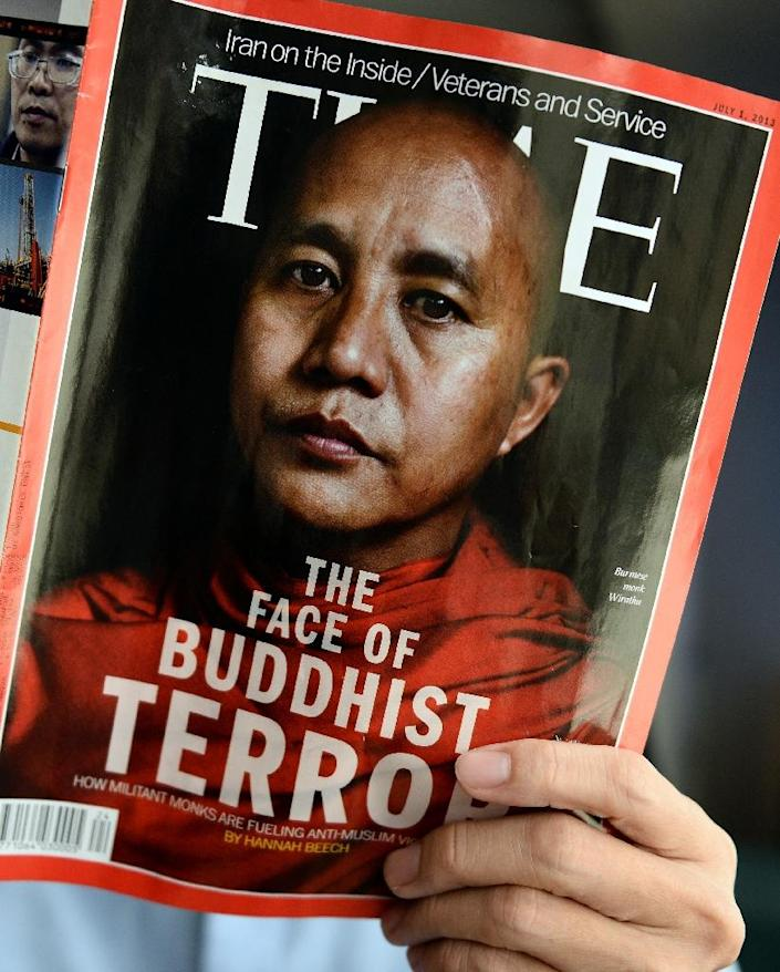 The July 1 issue of Time magazine featured controversial Myanmar monk Wirathu, who has poured vitriol on the country's small Muslim population, cheering a military crackdown that has forced nearly 700,000 Rohingya Muslim into Bangladesh (AFP Photo/Christophe ARCHAMBAULT)