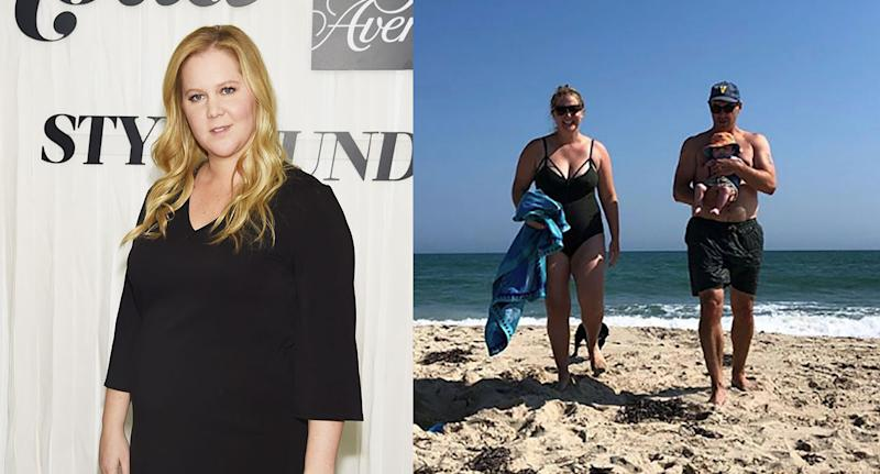 Amy Schumer on the beach with her baby