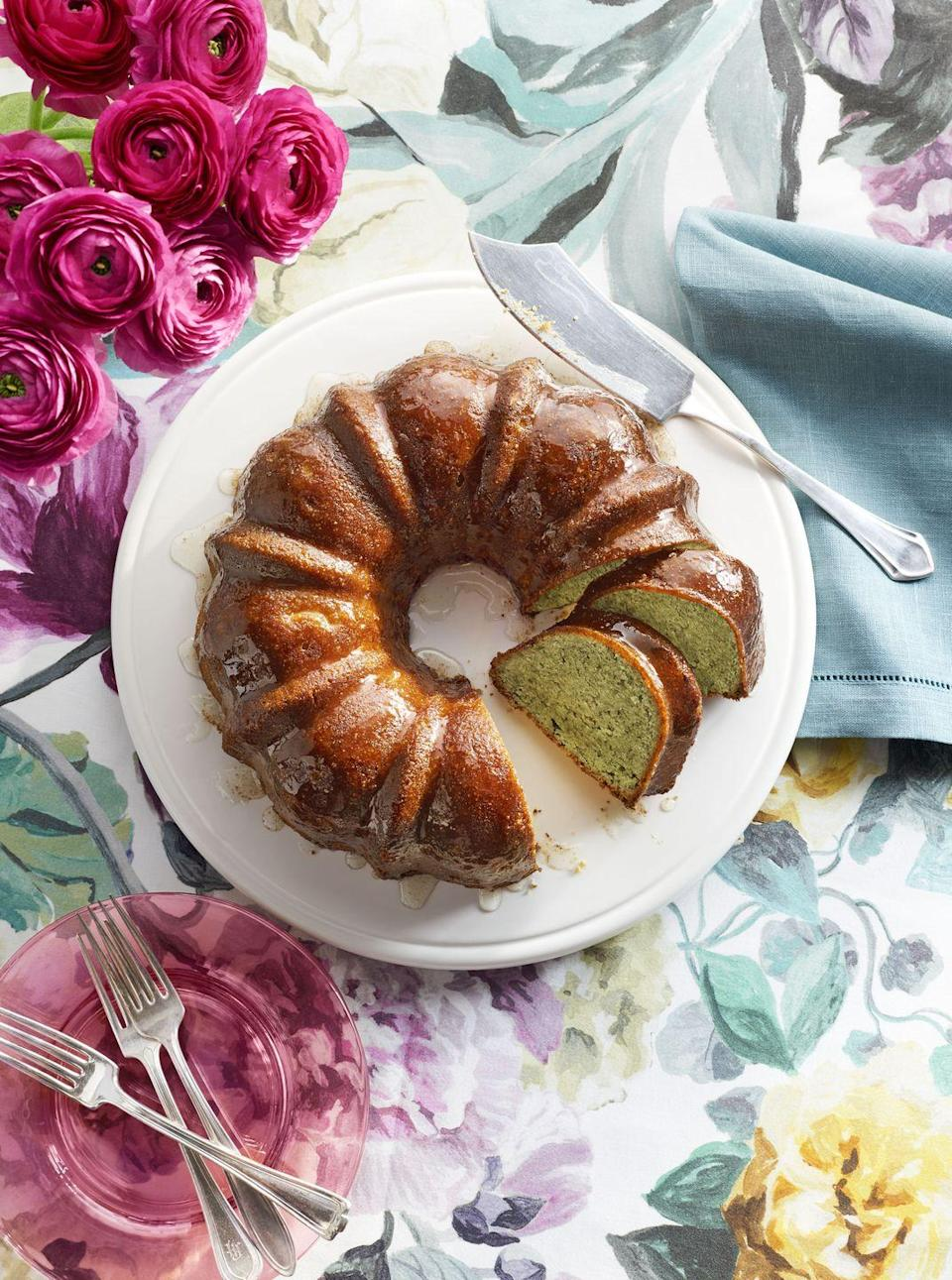 """<p>This bundt cake might look ordinary from the outside but once you cut dad a slice, he'll see its beautiful pistachio green inside.</p><p><em><a href=""""https://www.countryliving.com/food-drinks/recipes/a37735/pistachio-lemon-bundt-cake-recipe/"""" rel=""""nofollow noopener"""" target=""""_blank"""" data-ylk=""""slk:Get the recipe from Country Living »"""" class=""""link rapid-noclick-resp"""">Get the recipe from Country Living »</a></em></p>"""