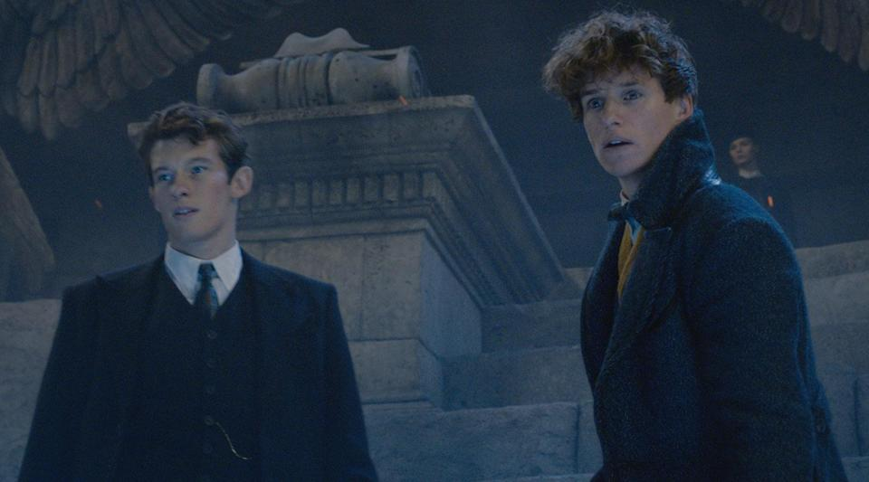 Callum Turner and Eddie Redmayne as the Scamander brothers in <i>Fantastic Beasts: The Crimes of Grindelwald</i> (Warner Bros.)
