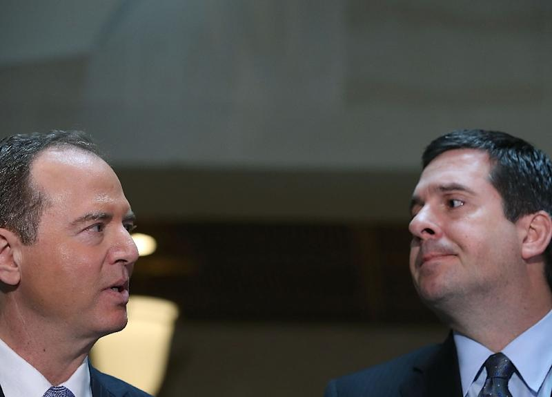 House Intelligence Committee Chairman Devin Nunes (right) and fellow lawmaker Adam Schiff say they have found no evidence that President Trump's campaign colluded with Russia (AFP Photo/MARK WILSON)