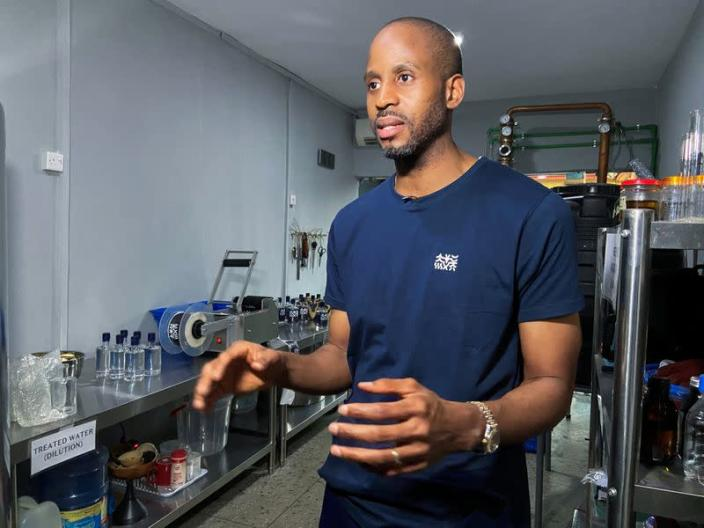 Chibueze Akukwe, co-founder of Pedro's gin distillery, is seen during an interview with Reuters in Lagos