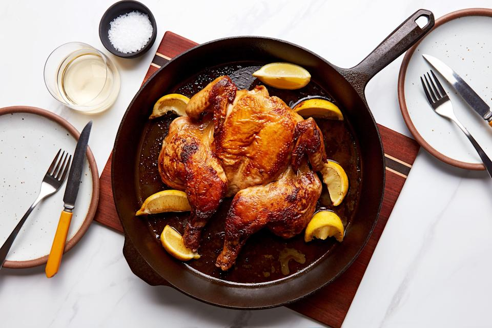 """When we say <a href=""""https://www.epicurious.com/recipes-menus/how-to-roast-a-chicken-in-as-little-as-18-minutes-article?mbid=synd_yahoo_rss"""" rel=""""nofollow noopener"""" target=""""_blank"""" data-ylk=""""slk:quick chicken"""" class=""""link rapid-noclick-resp"""">quick chicken</a>, we mean really quick chicken—like, as little as 18 minutes. The key: you'll put the skillet right on the hot oven floor. <a href=""""https://www.epicurious.com/recipes/food/views/quick-roast-chicken?mbid=synd_yahoo_rss"""" rel=""""nofollow noopener"""" target=""""_blank"""" data-ylk=""""slk:See recipe."""" class=""""link rapid-noclick-resp"""">See recipe.</a>"""