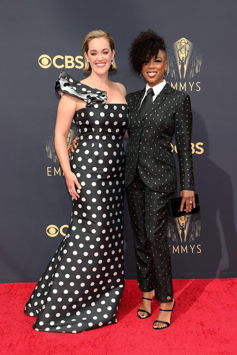 """<h1 class=""""title"""">Lauren Morelli and Samira Wiley in a Genny suit and Sophia Webster shoes</h1><cite class=""""credit"""">Photo: Getty Images</cite>"""