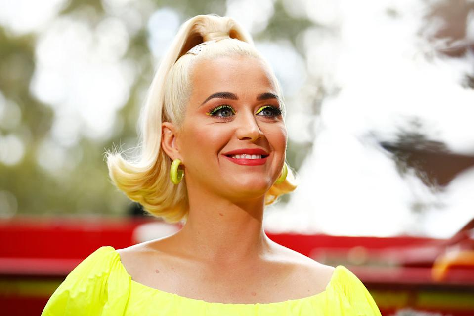 Katy Perry has shared an image of what would have been her Met Gala outfit, pictured here in Australia in March 2020. (Getty Images)