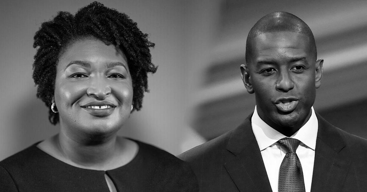 Stacey Abrams, Democratic gubernatorial candidate for Georgia, and Andrew Gillum, Democratic gubernatorial nominee for Florida. (Yahoo photo illustration; photos: Benjamin Lowy/Getty Images, Chris O'Meara/Pool via Reuters)
