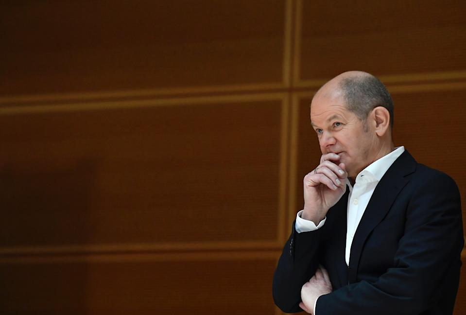 German Social Democratic party (SPD) candidate for chancellor Olaf Scholz attends a two-day party meeting in Berlin, Germany February 7, 2021. Tobias Schwarz/Pool via REUTERS