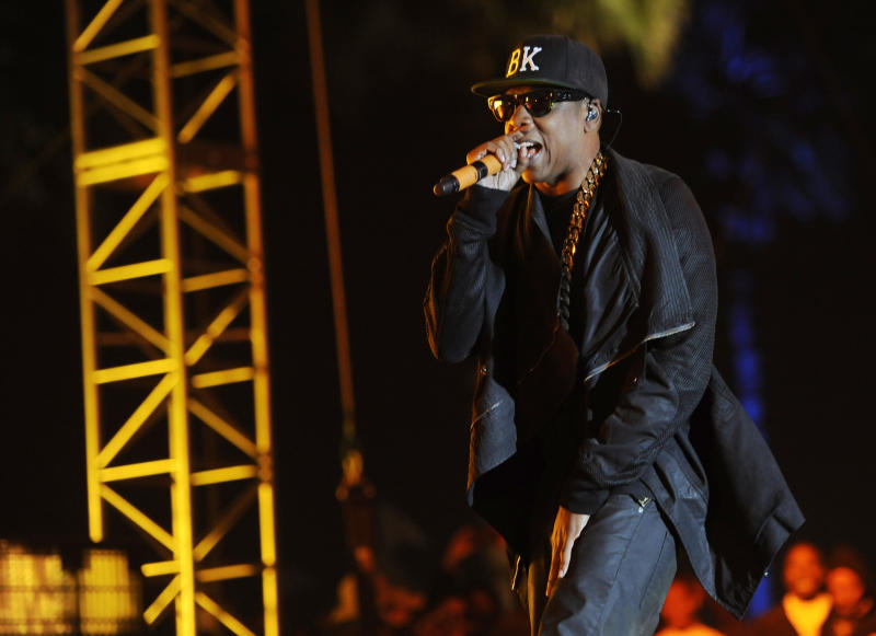 FILE - This April 12, 2014 file photo shows Jay Z at the 2014 Coachella Music and Arts Festival in Indio, Calif. Jay-Z is bringing his Made in America music festival to Los Angeles. The music mogul was joined by the city's mayor Wednesday, April 16, at Los Angeles City Hall to announce the two-day concert, which is planned for Labor Day weekend. (Photo by Chris Pizzello/Invision/AP, File)