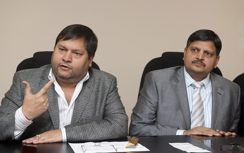 Ajay Gupta (R) and younger brother Atul Gupta at a one on one interview with Business Day in Johannesburg, South Africa on 2 March 2011.