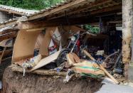 FILE PHOTO: A destroyed building is pictured after flooding in Erftstadt Blessem
